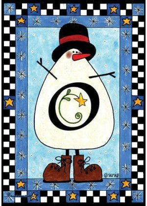 Snowman Monogram-O Flag | Monogram Flags | Winter Flags | Yard Flags