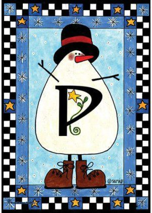 Snowman Monogram-P Flag | Monogram Flags | Winter Flags | Yard Flags