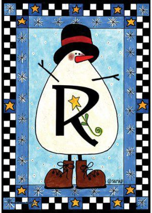 Snowman Monogram-R Flag | Monogram Flags | Winter Flags | Yard Flags
