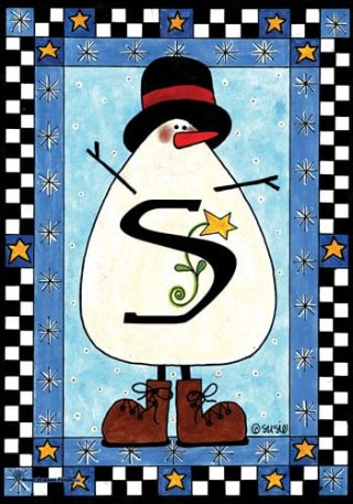 Snowman Monogram-S Flag | Monogram Flags | Winter Flags | Yard Flags