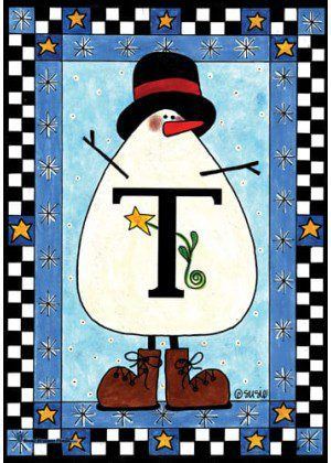 Snowman Monogram-T Flag | Monogram Flags | Winter Flags | Yard Flags