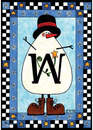 Snowman Monogram-W Flag | Monogram Flags | Winter Flags | Yard Flags
