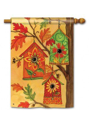 Fall Birdhouses House Flag | Fall Flags | Bird Flags | Yard Flags | Flags