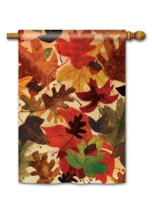 Fallen Leaves House Flag | Fall Flags | Floral Flags | Yard Flag | Cool Flag