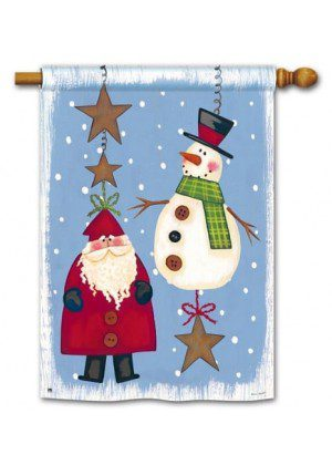 Folky Friends House Flag | Christmas Flags | Holiday Flags | Yard Flags