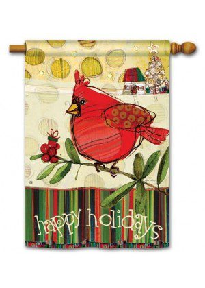Happy Holidays Cardinal House Flag | Christmas Flag | Yard Flags | Flags
