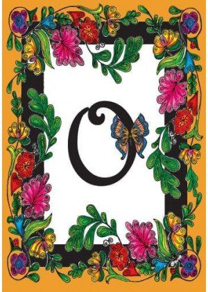 Butterfly Monogram-O Flag | Monogram Flags | Spring Flags | Yard Flags