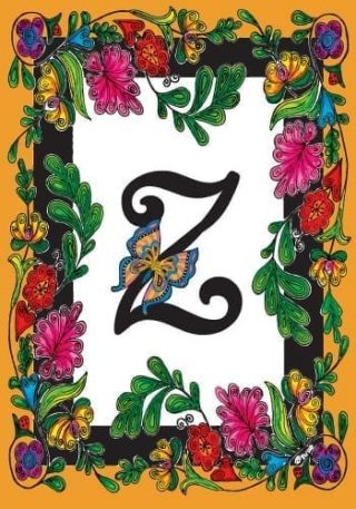Butterfly Monogram-Z Flag   Monogram Flags   Spring Flags   Yard Flags