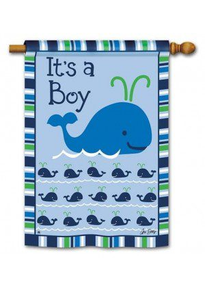 Whales - It's a Boy House Flag | Celebration Flags | Party Flag | Yard Flags