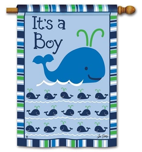 Whales - It's a Boy Flag | Decorative House Flags | Garden House Flags