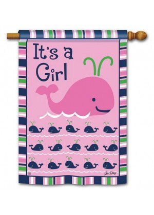 Whales - It's a Girl House Flag | Celebration Flags | Party Flags | Yard Flag