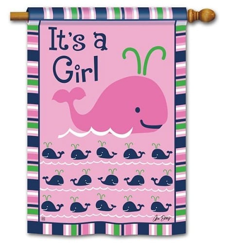 Whales - It's a Girl House Flag