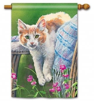 Kitty Cool Down House Flag | Animal Flags | Floral Flags | Spring Flags