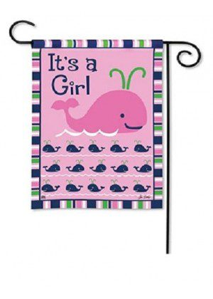 Whales - It's a Girl Garden Flag | Celebration Flags | Party Flag | Yard Flag