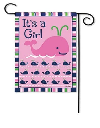 Whales - It's a Girl Garden Flag | Decorative Garden Flags | Garden House Flags