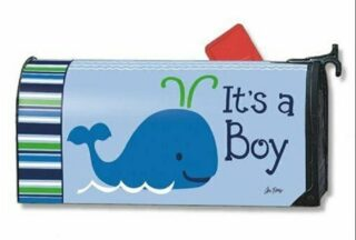 Whales - It's a Boy Mailbox Cover | Decorative Mailwraps | Mailbox Covers