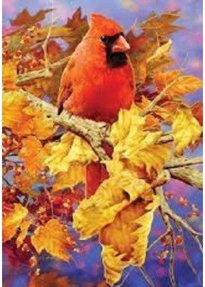 Brilliant Autumn Cardinal Flag | Fall Flag | Bird Flag | Yard Flag | Lawn Flag