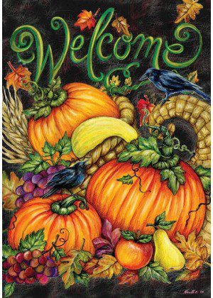 Harvest Welcome Abounds Flag | Thanksgiving Flags | Double Sided Flags