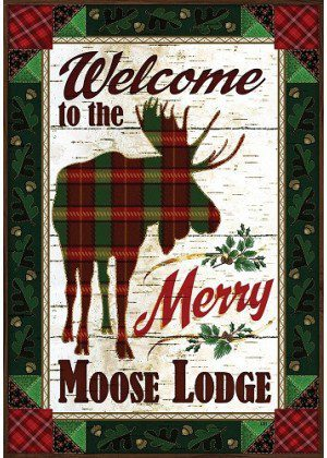 Merry Moose Flag | Christmas Flags | Double Sided Flags | Holiday Flags