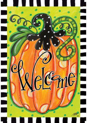 Welcome Polka Dot Pumpkin Flag | Halloween Flags | Double Sided Flags