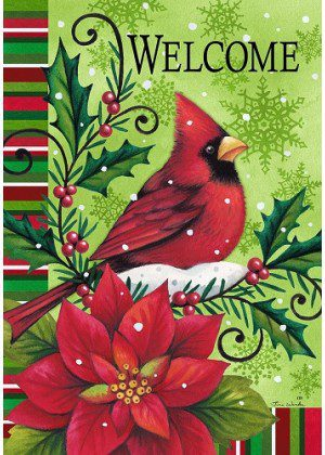 Welcome Cardinal Flag | Winter Flags | Double Sided Flag | Welcome Flag