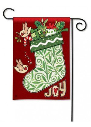 Joy Stocking Garden Flag | Christmas Flags | Holiday Flags | Winter Flags