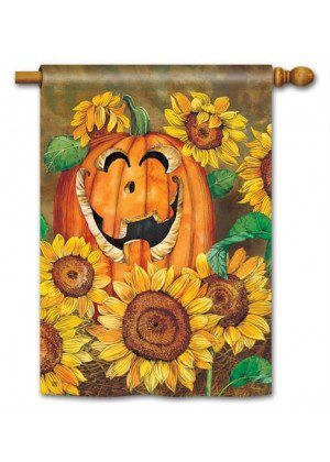Sunflower Jack House Flag | Yard Flags | Halloween Flags | Cool Flags