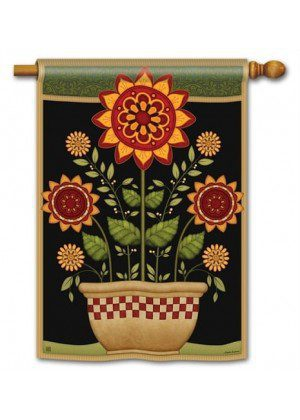 Primitive Sunflowers House Flag | Fall Flags | Floral Flags | House Flags