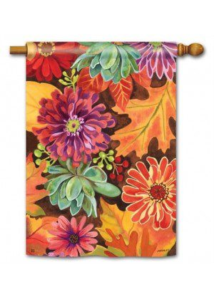Autumn Jazz House Flag | Fall Flags | Floral Flags | Yard Flags | Cool Flag