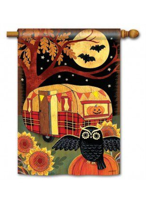Halloween Camper House Flag | Halloween Flags | Yard Flags | Fall Flags
