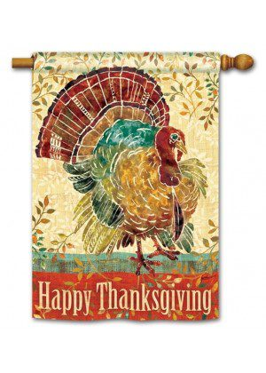 Thanksgiving Turkey House Flag | Thanksgiving Flags | Holiday Flags