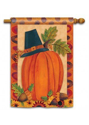 Pilgrim Pumpkin House Flag | Thanksgiving Flags | Holiday Flags | Flags
