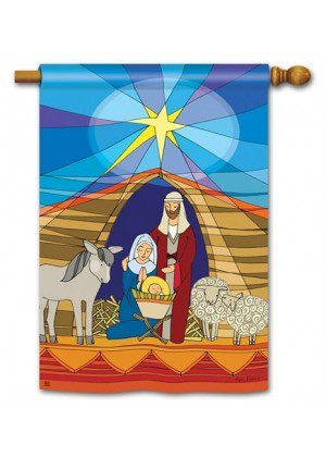Stained Glass Nativity House Flag | Christmas Flags | Yard Flags | Flags
