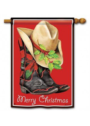 Cowboy Christmas House Flag | Christmas Flags | Yard Flags | Cool Flags