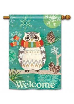 Winter Owl House Flag | Winter Flags | Bird Flags | Welcome Flags | Flags
