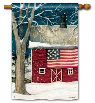 Winter Barn House Flag | Winter Flags | Patriotic Flags | Yard Flags