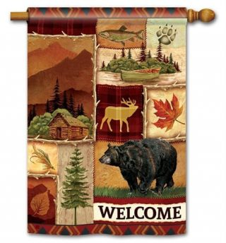 Cabin Fever House Flag | Fall Flags | Welcome Flags | Wildlife Flags | Flag