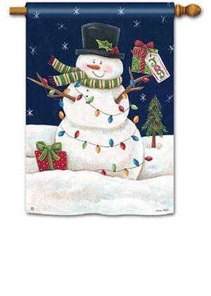 Snowman Lights House Flag | Christmas Flags | Snowman Flags