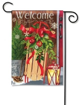 Mountain Cabin Sled Garden Flag | Winter Flag | Welcome Flag | Cool Flag