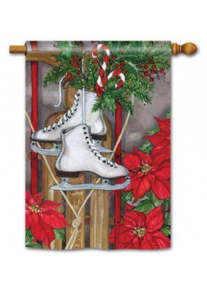 Sled and Skates House Flag | Christmas Flags | Yard Flags | Cool Flags