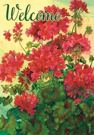 Welcome Red Geraniums Flag | Welcome Flags | Floral Flags | Cool Flags