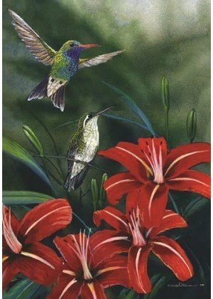 Hummingbird Pair Flag | Bird Flags | Floral Flag | Summer Flag | Cool Flag