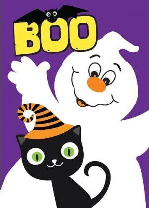 Boo Kitty Flag | Yard Flags | Halloween Flags | Cool Flags | Garden Flags