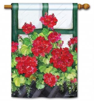 Window Box Geraniums House Flag | Floral Flags | Summer Flags | Flags