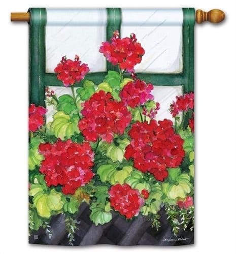 Window Box Geraniums House Flag