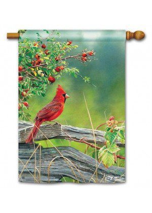 Cardinal Lookout House Flag | Bird Flags | Summer Flags | Yard Flags