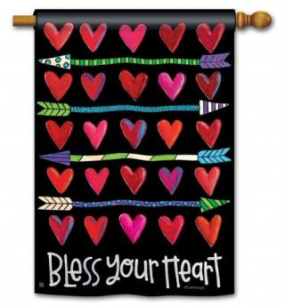 Hearts and Arrows House Flag | Valentine's Day Flags | Double Sided Flag