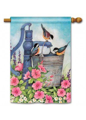Birds of Spring House Flag | Bird Flags | Floral Flags | Yard Flags | Flags