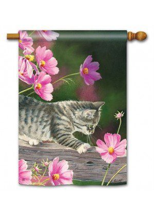 Curious Kitty House Flag | Animal Flags | Floral Flags | Spring Flags | Flags