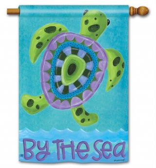 Turtle by the Sea House Flag | Nautical Flag | Yard Flag | Two Sided Flags